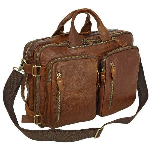 Мужская кожаная сумка рюкзак Pola