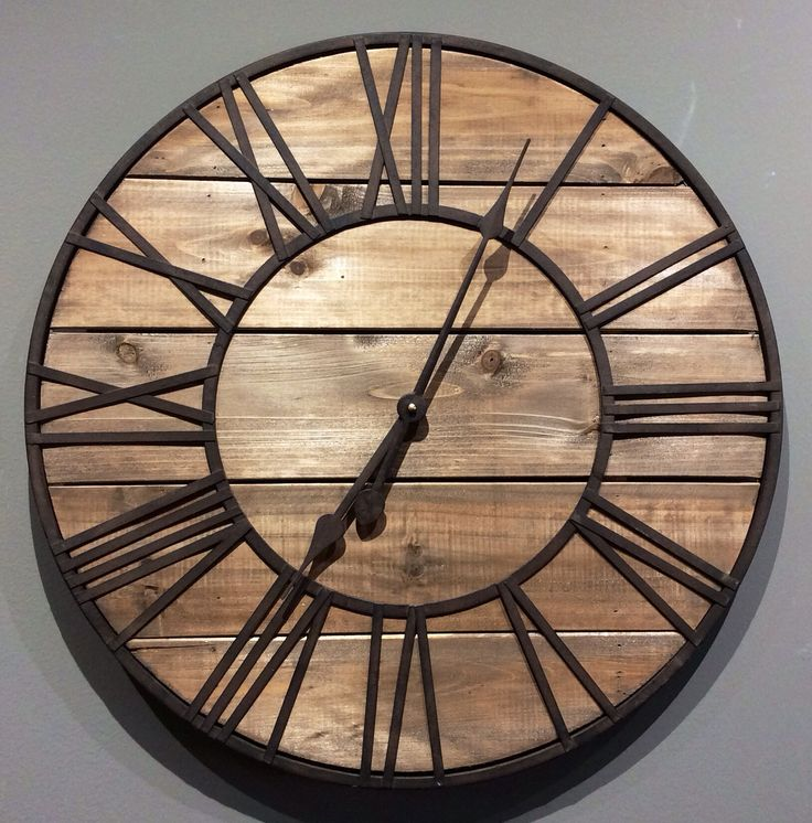 Clock Round Wood and Metal