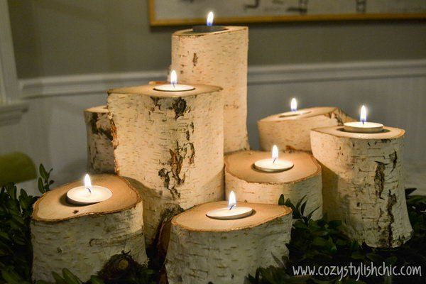 These tree stump candles are the best way to set the mood for holiday entertaining and warm up the space. http://hative.com/cool-diy-candle-ideas-and-tutorials/