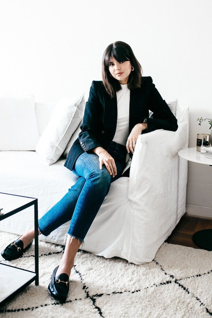 This Effortless Denim Outfit Is Perfect for the Creative Office via @WhoWhatWear