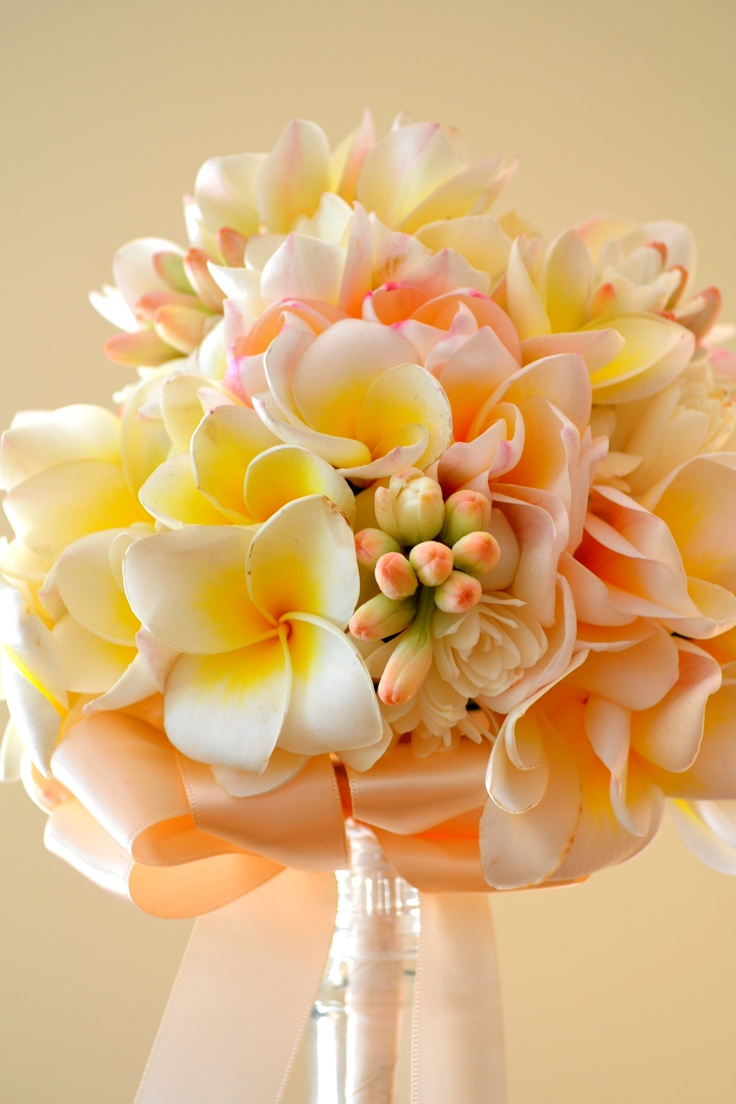 Bridal bouquet of Frangipani and tuberose.