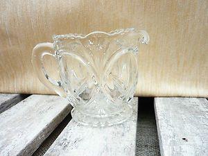 Pretty Elegant Ornate Shaped Vintage Pressed Glass Jug Milk Cream Shabby Chic | eBay