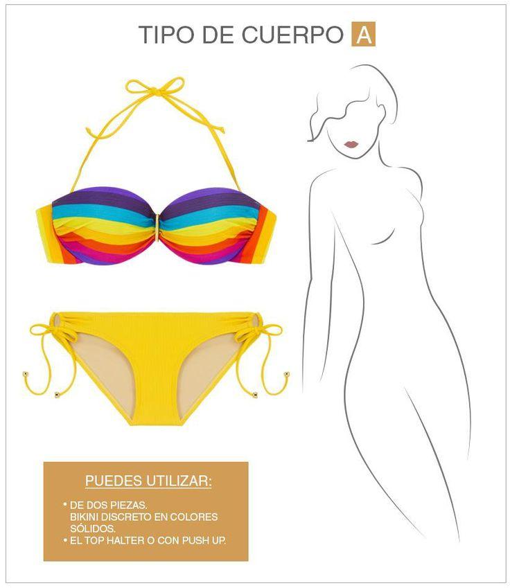 """Silueta """"A"""" en este tipo de cuerpo la parte inferior es más ancha que la superior, por lo que te sugerimos usar trajes de baño que resalten tu torso más que el área de las caderas. Para ello, puedes utilizar Tops con Push Up, o en colores llamativos. Encuentra más consejos de Lovable, en Unicentro, en: https://www.facebook.com/media/set/?set=a.10152351498739787.1073741847.327334029786&type=1"""