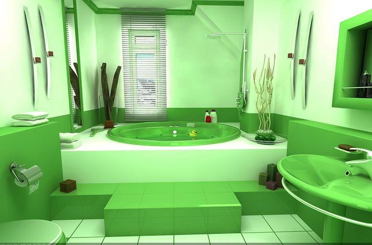 Большая ванная комната в современном стиле в зеленых тонах со встроенной гидромассажной ванной. #зеленая_ванная_комната #встроенная_ванна #гидромассажная_ванна #большая_ванная_комната #дизайн_ванной_комнаты