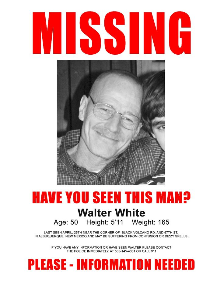 MISSING Poster for Walter WhitePosters Masterprint, Picture-Black Posters, Bad Bash, Breakingbad, Bad Walter, Bad Final, Breaking Bad, Bad Parties, Walter White