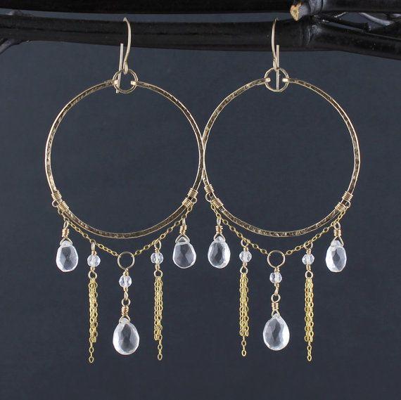 14K Gold Fill XL Hammered Hoop Earrings w. Dangling by TheGemGypsy