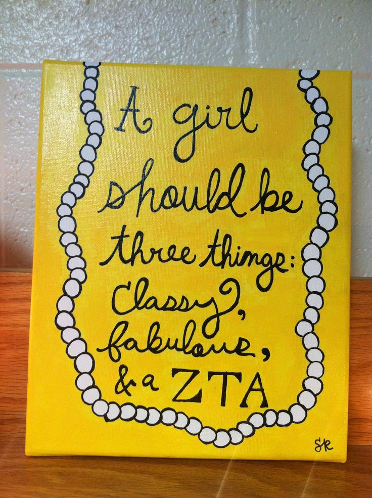 ZTA Zeta Tau Alpha is classy and fabulous. Zeta canvas with pearls
