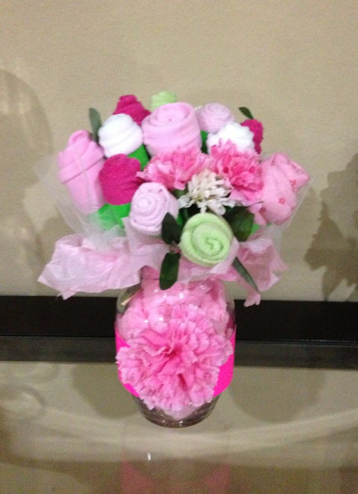 Onsies and burp cloth bouquet!