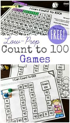 FREE Low Prep Count to 100 Games - These are such a fun way to help kids practice counting to 100 by 1s, 5s, 10s and more. Great for Kindergarten, first grade, 2nd grade math (homeschool, math practice, math centers)