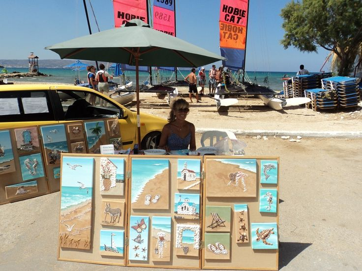 My stall and display where I work and sell at the edge of the beach of Almyrida