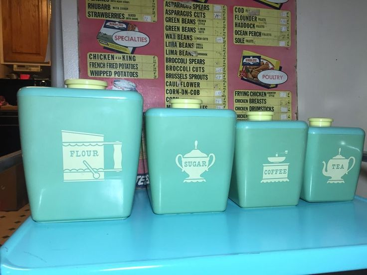 Vintage Midcentury Burrite Burroughs Turquoise Kitchen Canister Set | EBay