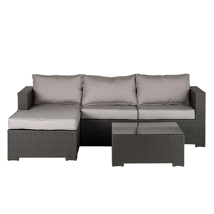 Popular Tisch Polyrattan Textil Grau
