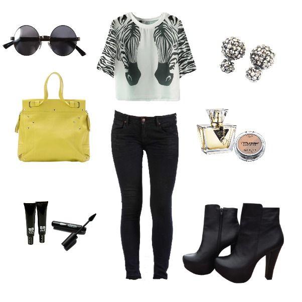 Outfit Tardeando Ando heelsup, rockblack, yellowneon, zebra en Colombia