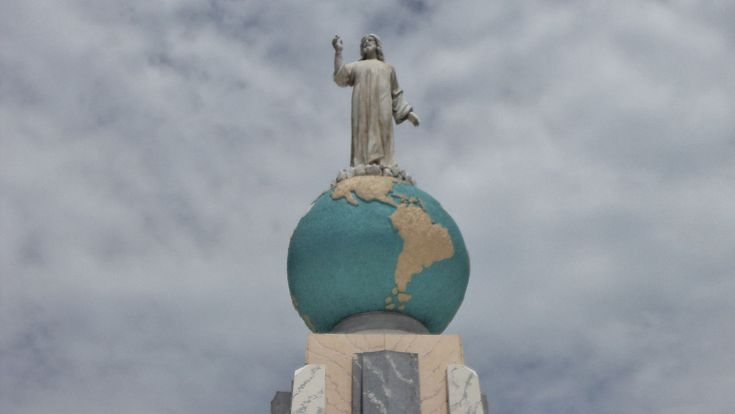 The iconic statue of Christ on the globe sphere of planet earth is part of the Monumento al Divino Salvador del Mundo (Monument to the Divine Savior of the world) on Plaza El Salvador del Mundo (The Savior of the World Plaza), a landmark located in the country's capital, San Salvador. ◆El Salvador - Wikipedia http://en.wikipedia.org/wiki/El_Salvador #El_Salvador
