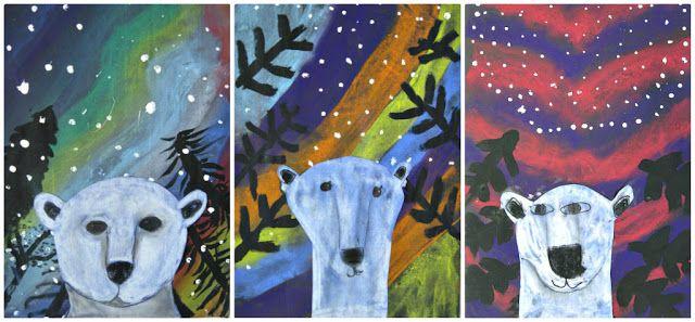 Ijsbeer in het noorderlicht. Achtergrond: gekleurd krijt op zwart papier. Bomen en sneeuw met verf. Ijsbeer: krijt of verf.