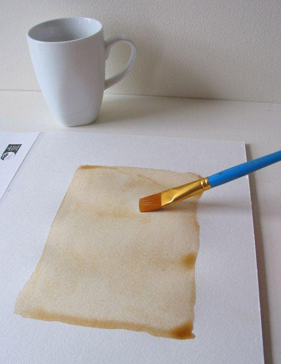 Using coffee, wine, or tea as watercolor
