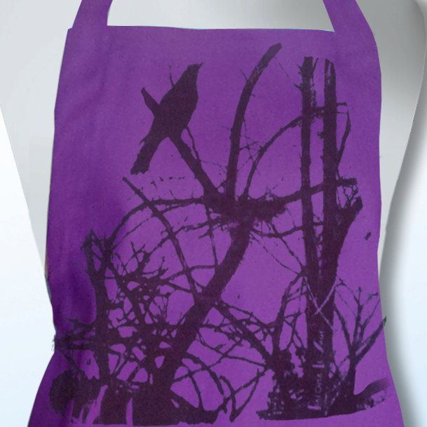 Handprinted Currawong with Nest Magenta Purple 100% Cotton Drill Apron by animalsandbirds on Etsy