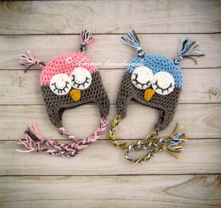 Crochet owl hats, twin hats, baby owl hats, twin owl hats, crochet twin hats, crochet owl beanies, boy and girl owl hat, baby twin hats by Amaiahandmade on Etsy