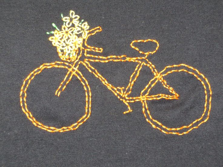 bicycle with flowers, embroidery on t-shirt