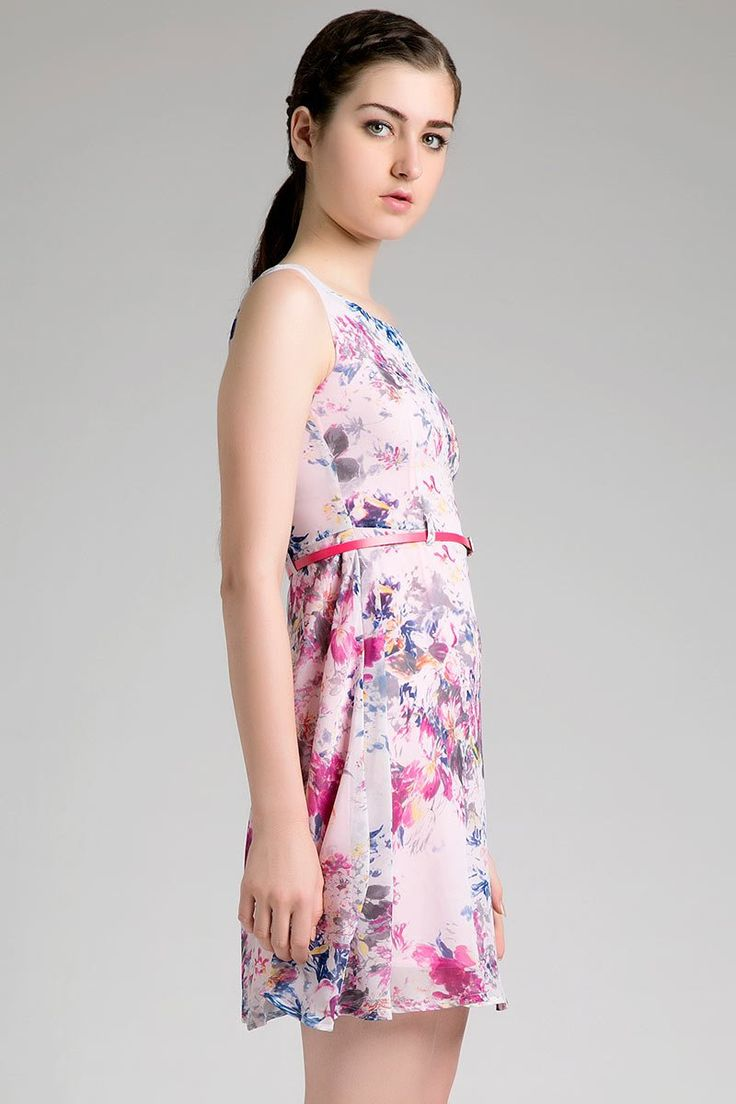 Delicia Dress by Chanira. Simple sleeveless with scoop neckline, it has subtle floral prints, and complete with a pink belt, this cute dress come with floral pattern, with pink based, a cute casual dress for casual occasion, pair it with clogs or flat shoes to complete the look.  http://www.zocko.com/z/JFcMC