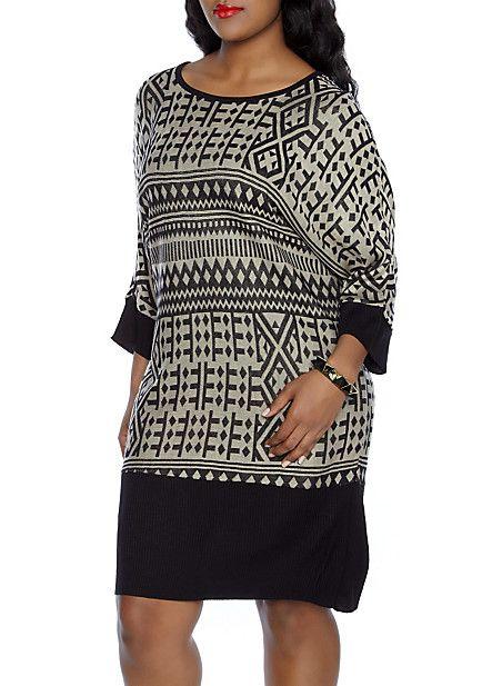 Plus-Size Geo Sweater Dress