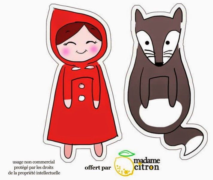 """Cute little red riding hood. The animal may be a wolf, but it could also be used as a fox or a badger. """"Imprimolandia: Marcapáginas (2)"""""""