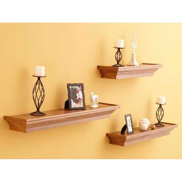 Solid Oak Floating Display Shelves Set Of By