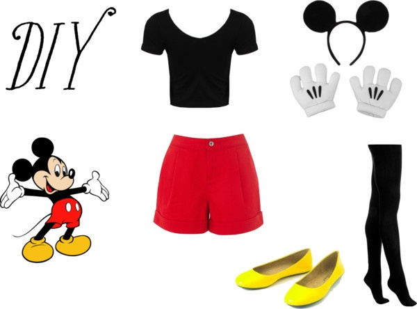 """""""DIY Halloween Outfit- Mickey Mouse"""" by vicky-shaw ❤ liked on Polyvore"""