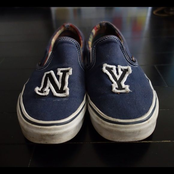 Vans Shoes - Navy Vans, Size 8, 'N Y' patches glued on front