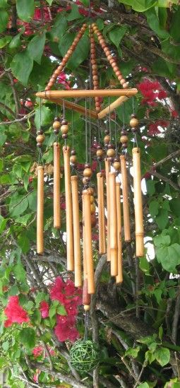 Bamboo wind chimes.. Sound like a babbling brook ..