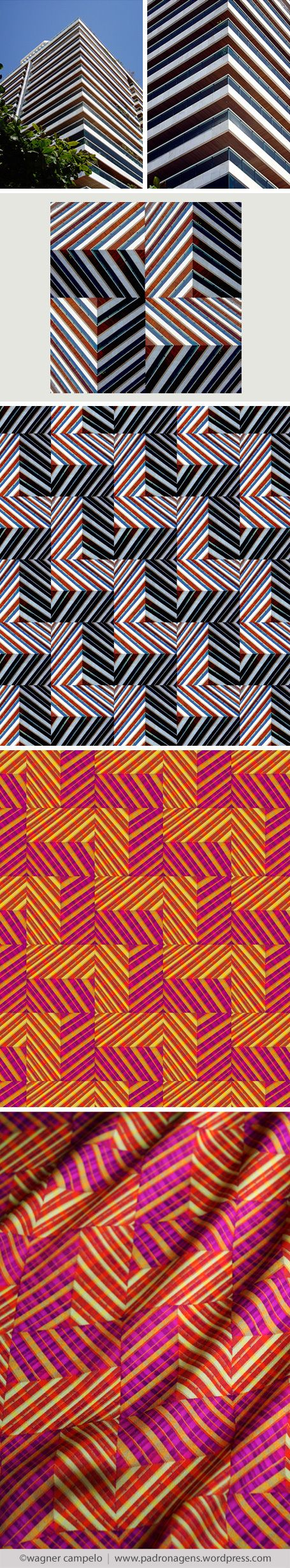 Creative process for prints from photos | Diagonal Chevron pattern.