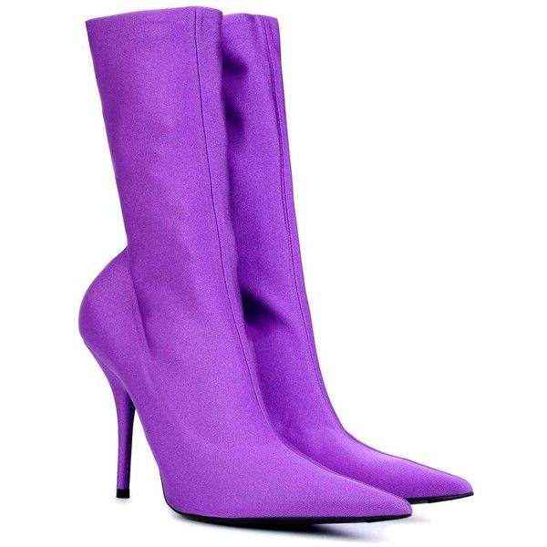 Balenciaga Knife Stretch-Jersey Ankle Boots ($1,105) ❤ liked on Polyvore featuring shoes, boots, ankle booties, purple, ankle boots, stretch jersey, ankle bootie boots, purple boots and balenciaga booties