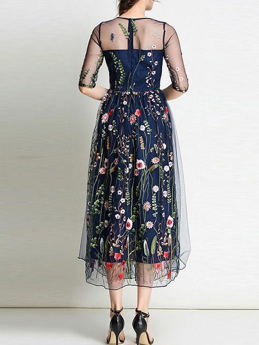 1691811f3a Sheer Gauze Flowers Embroidered Dress -SheIn(Sheinside)   dresses ...