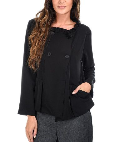Look what I found on #zulily! Black Ruffle Double-Breasted Jacket #zulilyfinds
