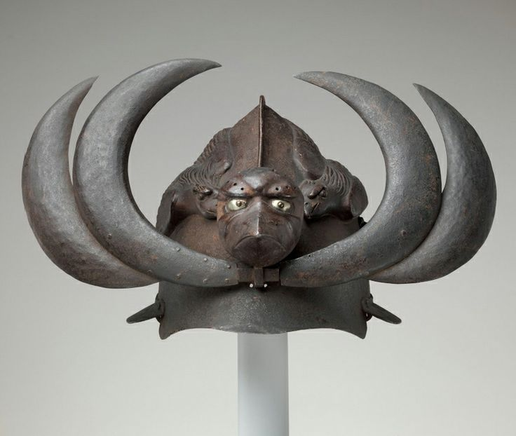 Exotic Helmet w/ Tengu Mask  Crows. 19th century, Japan.  Iron helmet.  ~Repinned Via chiritescu zeno