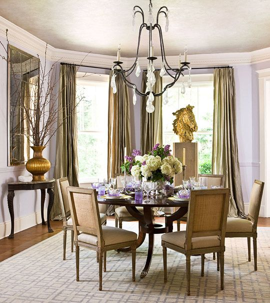 17 best images about dining room window treatments on for Beautiful traditional dining rooms