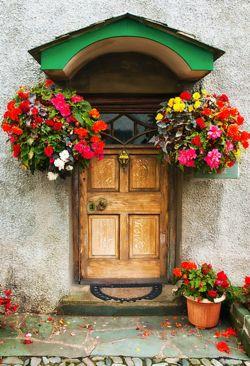 A grand way to say welcome.: English Lakes, The Doors, Doors Window, Lakes District, England Doors, Front Doors, Beautiful Doors, National Parks, Hanging Baskets