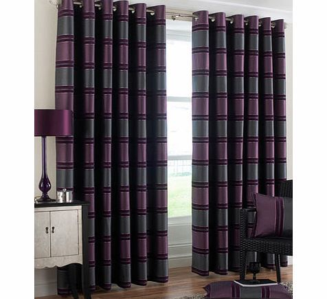 Bhs Purple Horizon Stripe Eyelet Curtain, purple