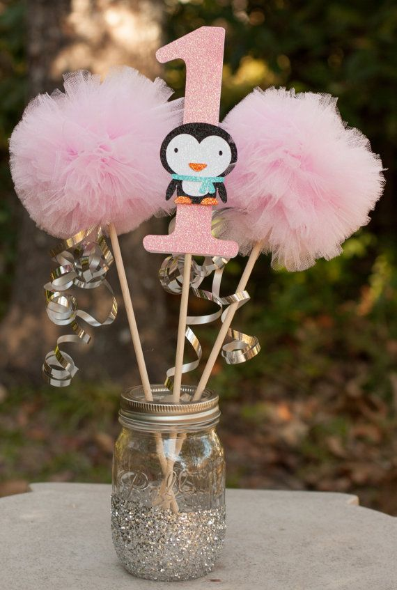 Winter Onderland Party Winter Wonderland First Birthday Penguin Party Centerpiece Table Decoration