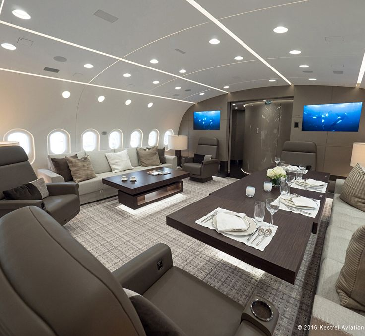 "In addition to the Marc Newson plane, I found another opposite-of-coach flying experience, and this one's a doozy: A company called Kestrel Aviation Management was hired to transform a freaking Boeing 787 Dreamliner into a private jet. ""This 2,400 sq.ft., 40-seat corporate aircraft,"" the company writes, ""has a nearly 9,800"