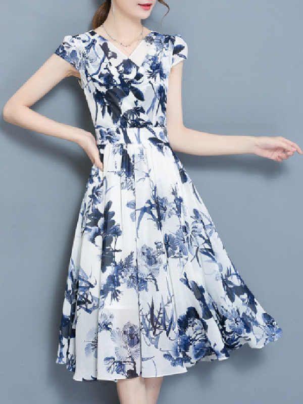 レディース上品な雰囲気Vネック半袖花柄プリントエレガントワンピース - レディースファッション激安通販|20代·30代·40代ファッション