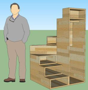 "Wraparound stair and cupboard. Each stair is 8"" high, and the footprint of the entire staircase is 3'x3', total height 5'4"""