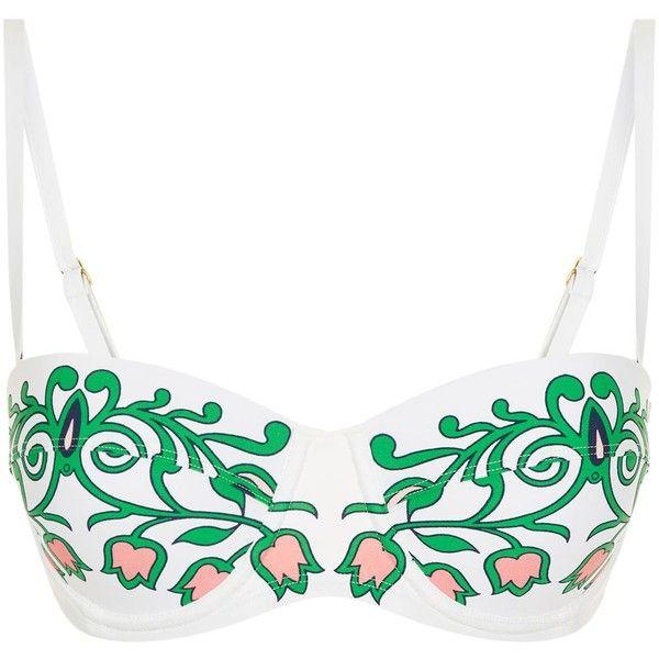 Tory Burch Garden Party Bikini Top (3.105 ARS) ❤ liked on Polyvore featuring swimwear, bikinis, bikini tops, bathing suits, swimsuits bikinis, swimsuit tops, underwire bikini, tankini swimsuit tops and tankini tops