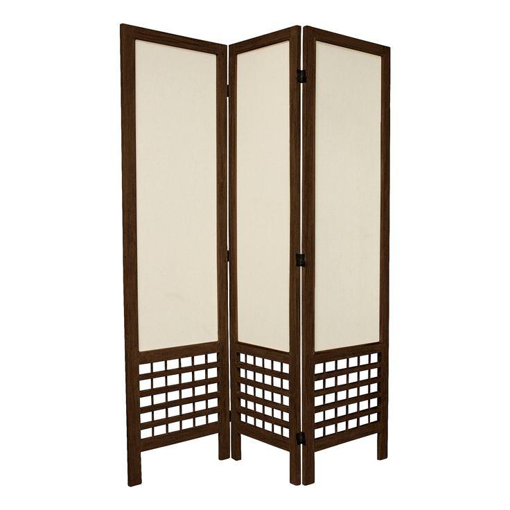 5 1/2 ft. Tall Open Lattice Fabric Room Divider - Burnt Brown (3 Panels)