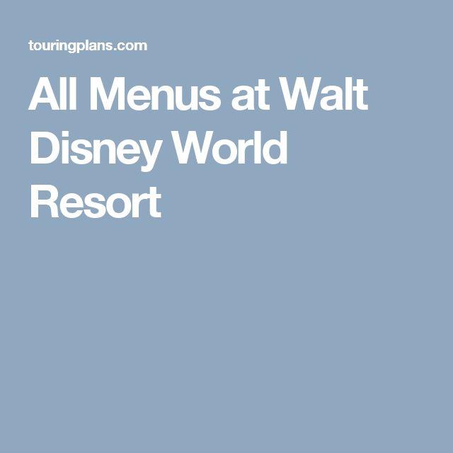 All Menus at Walt Disney World Resort