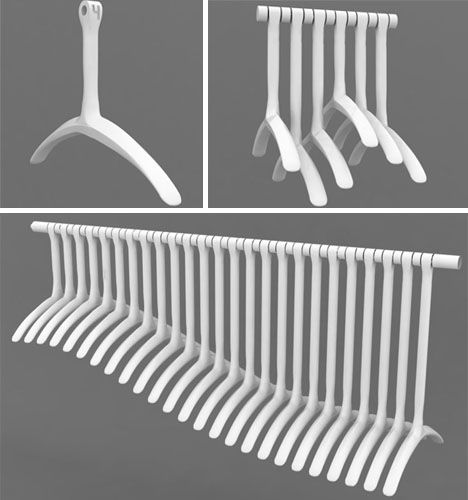 19 best hangers images on pinterest coat hanger laundry for Creative clothes hangers