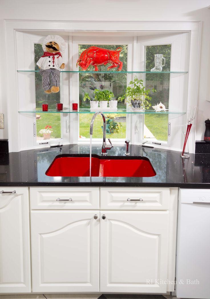 A Retro-Chic Kitchen Design by #RIKB #KitchenDesign #Kitchen #DesignBuild #StainlessSteel #Tile #Red #RedSink #Kohler #WhiteCabinetry