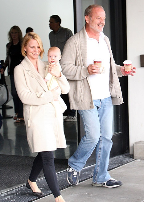 Kelsey Grammer arriving on a flight at LAX airport with his wife Kayte and baby Faith in Los Angeles, California on November 27, 2012.