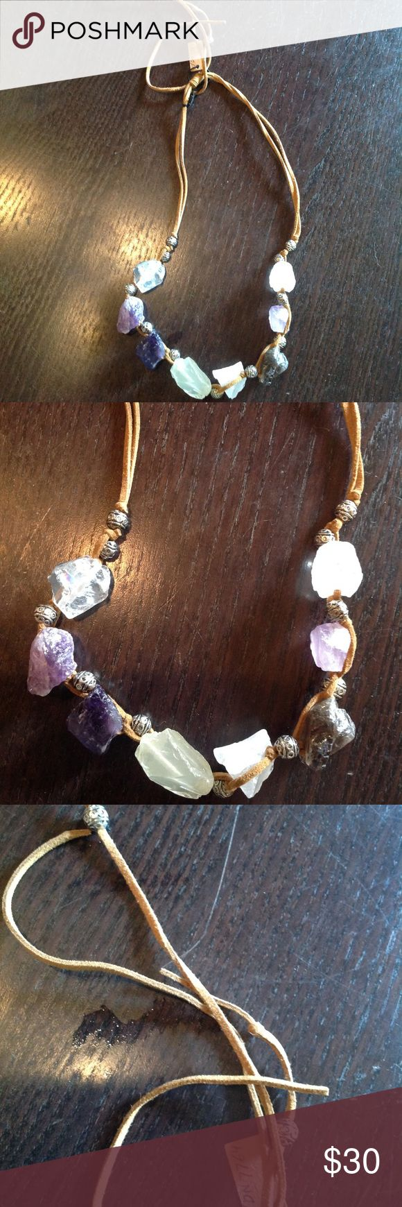 New! Rough  cut amethyst Quartz necklace💕 Gorgeous boho piece! Great gift , adjustable suede ties , heavier piece so beautiful Jewelry Necklaces
