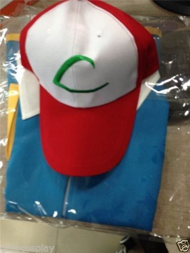 Pokemon-Ash-Ketchum-Trainer-Costume-Cosplay-Shirt-Jacket-Gloves-Hat